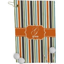 Orange & Blue Stripes Golf Towel - Full Print (Personalized)