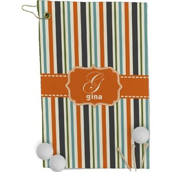 Orange & Blue Stripes Golf Towel - Full Print (Personalized)