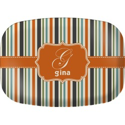 Orange & Blue Stripes Melamine Platter (Personalized)