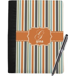 Orange & Blue Stripes Notebook Padfolio (Personalized)