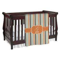 Orange & Blue Stripes Baby Blanket (Personalized)
