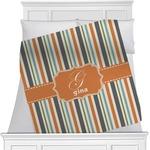 Orange & Blue Stripes Minky Blanket (Personalized)