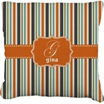 Orange & Blue Stripes Faux-Linen Throw Pillow (Personalized)