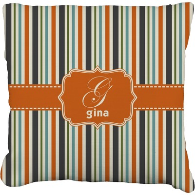 Orange & Blue Stripes Faux-Linen Throw Pillow (Personalized)