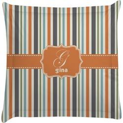 Orange & Blue Stripes Euro Sham Pillow Case (Personalized)