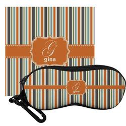 Orange & Blue Stripes Eyeglass Case & Cloth (Personalized)