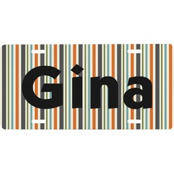 Orange & Blue Stripes Front License Plate (Personalized)