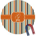 Orange & Blue Stripes Round Fridge Magnet (Personalized)