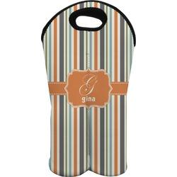 Orange & Blue Stripes Wine Tote Bag (2 Bottles) (Personalized)