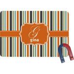 Orange & Blue Stripes Rectangular Fridge Magnet (Personalized)