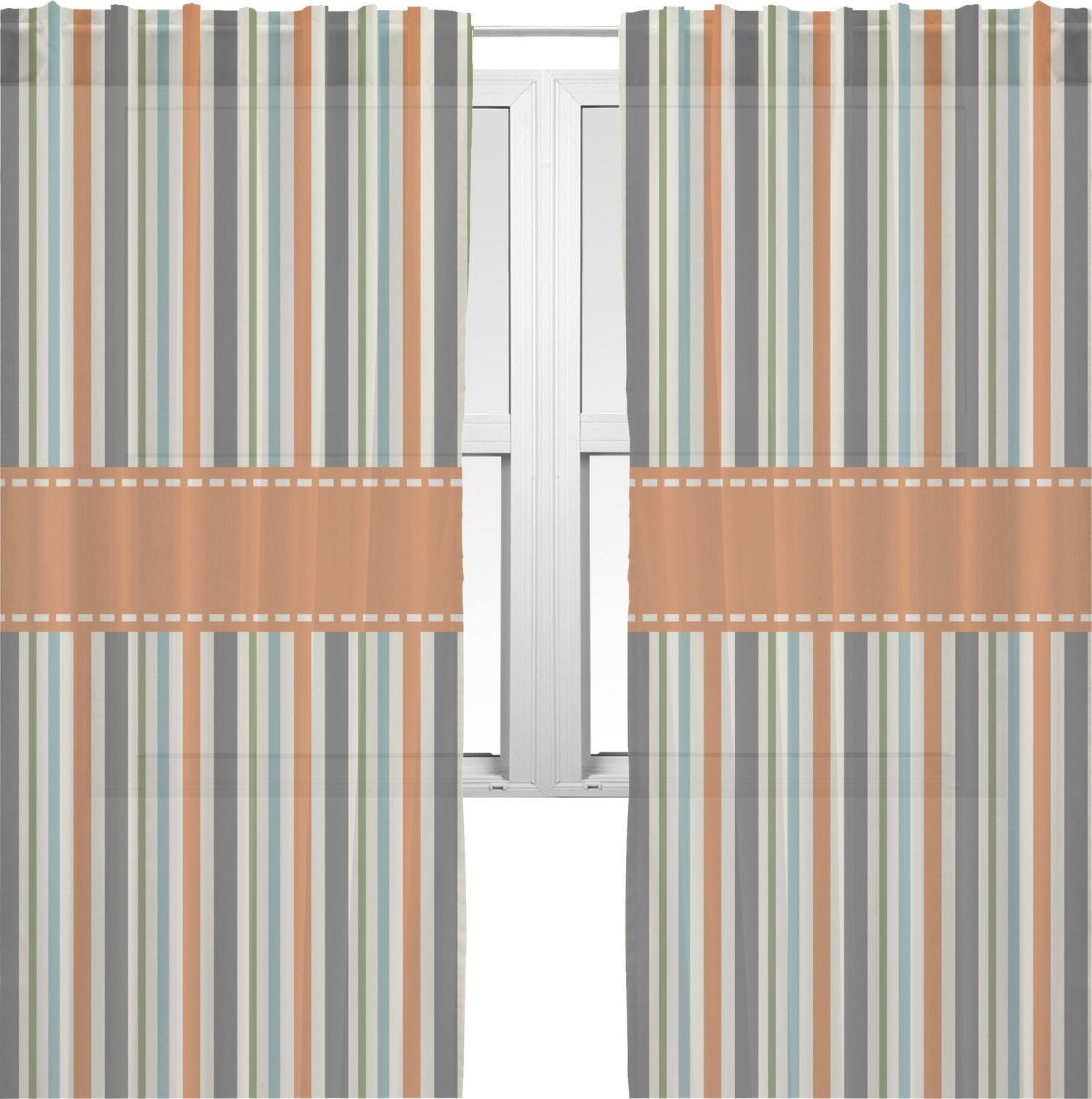 Orange Blue Stripes Sheer Curtains Personalized