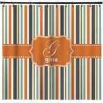 Orange & Blue Stripes Shower Curtain (Personalized)
