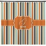 Orange & Blue Stripes Shower Curtain (Personalized)
