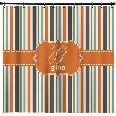Orange Amp Blue Stripes Extra Long Shower Curtain