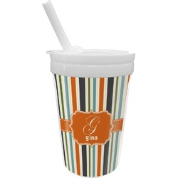 Orange & Blue Stripes Sippy Cup with Straw (Personalized)