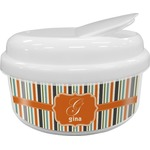 Orange & Blue Stripes Snack Container (Personalized)