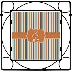 Orange & Blue Stripes Square Trivet (Personalized)