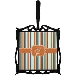 Orange & Blue Stripes Trivet with Handle (Personalized)