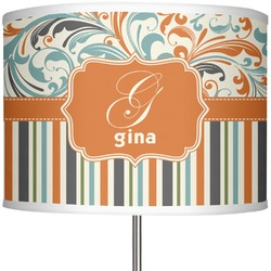 "Orange Blue Swirls & Stripes 13"" Drum Lamp Shade (Personalized)"