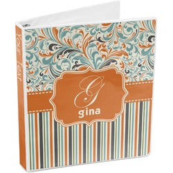 Orange Blue Swirls & Stripes 3-Ring Binder (Personalized)