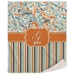 Orange Blue Swirls & Stripes Sherpa Throw Blanket (Personalized)