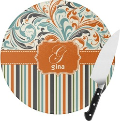 Orange Blue Swirls & Stripes Round Glass Cutting Board - Small (Personalized)