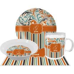 Orange Blue Swirls & Stripes Dinner Set - 4 Pc (Personalized)