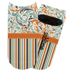 Orange Blue Swirls & Stripes Adult Ankle Socks (Personalized)