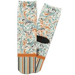 Orange Blue Swirls & Stripes Adult Crew Socks (Personalized)