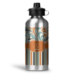 Orange Blue Swirls & Stripes Water Bottle - Aluminum - 20 oz (Personalized)