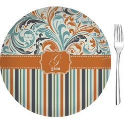 "Orange Blue Swirls & Stripes 8"" Glass Appetizer / Dessert Plates - Single or Set (Personalized)"