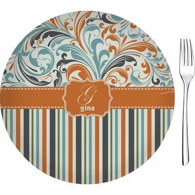 "Orange Blue Swirls & Stripes Glass Appetizer / Dessert Plate 8"" (Personalized)"
