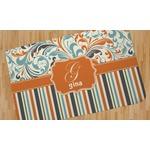 Orange Blue Swirls & Stripes Area Rug (Personalized)