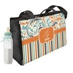 Orange Blue Swirls & Stripes Diaper Bag w/ Name and Initial