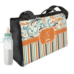 Orange Blue Swirls & Stripes Diaper Bag (Personalized)