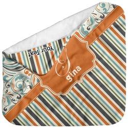 Orange Blue Swirls & Stripes Baby Hooded Towel (Personalized)