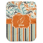 Orange Blue Swirls & Stripes Baby Swaddling Blanket (Personalized)