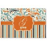 Orange Blue Swirls & Stripes Woven Mat (Personalized)