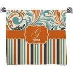 Orange Blue Swirls & Stripes Full Print Bath Towel (Personalized)