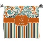 Orange Blue Swirls & Stripes Bath Towel (Personalized)