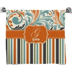 Orange Blue Swirls & Stripes Full Print Bath Towel (Personalized)