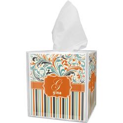 Orange Blue Swirls & Stripes Tissue Box Cover (Personalized)