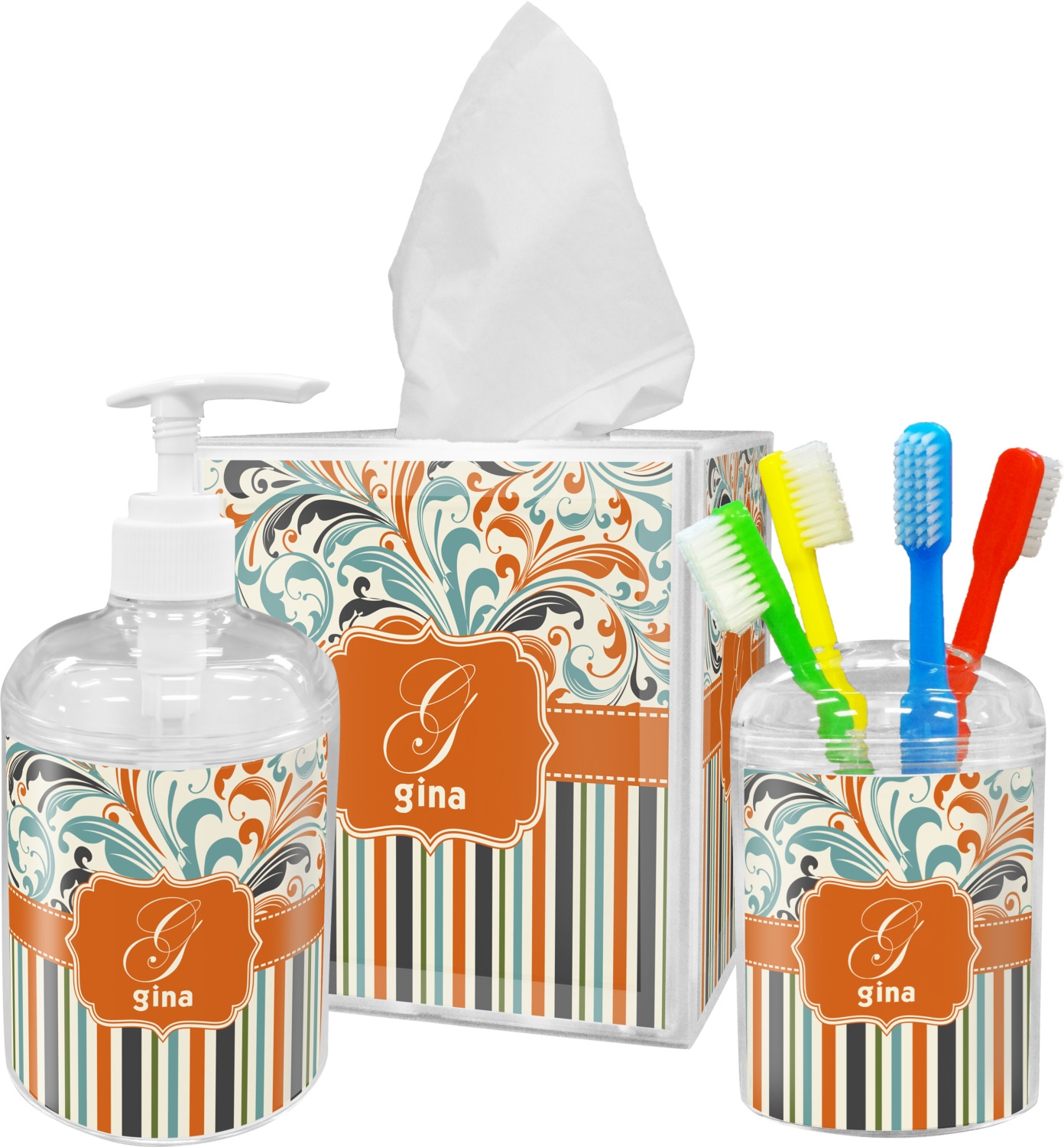 Orange Blue Swirls & Stripes Bathroom Accessories Set (Personalized)