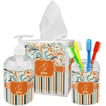 Orange Blue Swirls & Stripes Acrylic Bathroom Accessories Set w/ Name and Initial