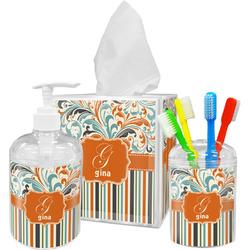 Orange Blue Swirls & Stripes Bathroom Accessories Set (Personalized)