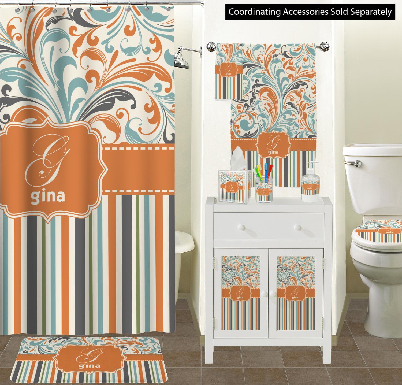 Curtain Sizes Orange Blue Swirls Stripes Bathroom Scene