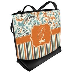 Orange Blue Swirls & Stripes Beach Tote Bag (Personalized)