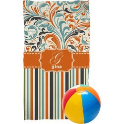 Orange Blue Swirls & Stripes Beach Towel (Personalized)