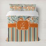 Orange Blue Swirls & Stripes Duvet Cover (Personalized)