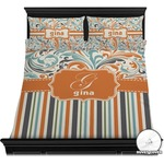 Orange Blue Swirls & Stripes Duvet Cover Set (Personalized)